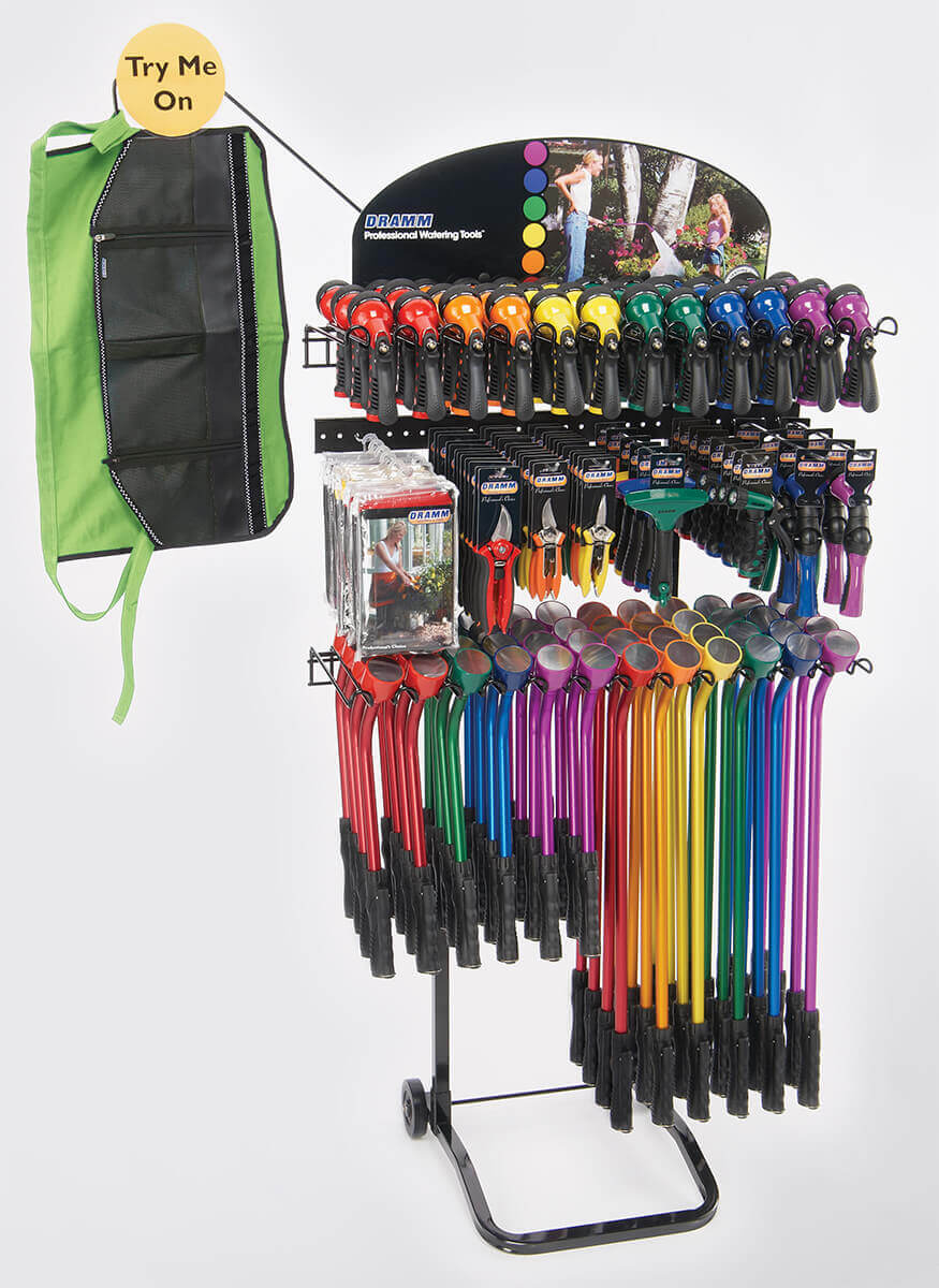 Touch N' Flow Rain Wands / Revolver / Hand Watering Tools / Cutting tools / ColorWear Apron  Display