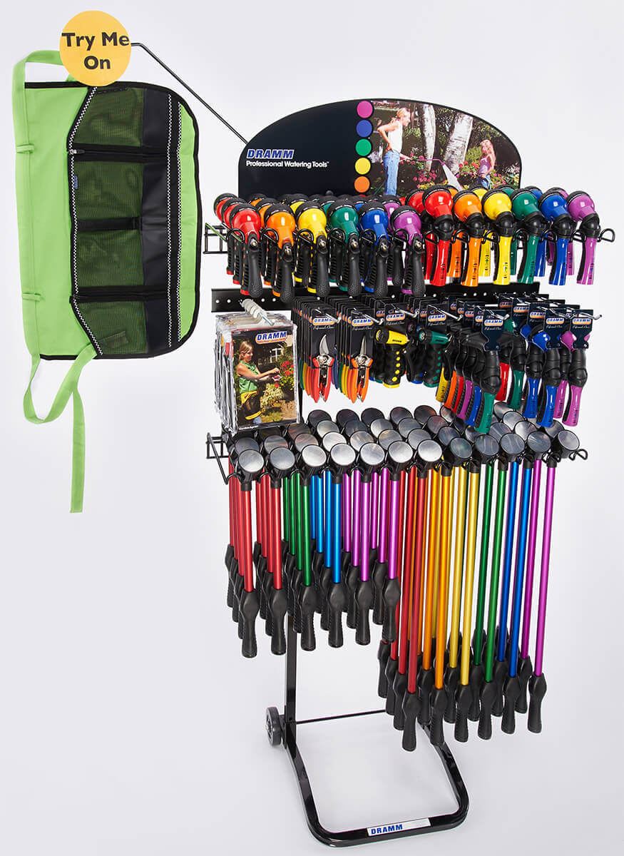 OneTouch Rain Wands / Revolution / Revolver / Hand Watering Tools / Cutting Tools / ColorWear Apron Display