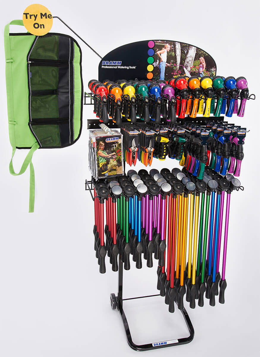 RainSelect Rain Wands / OneTouch Rain Wands / Revolution / Revolver / Hand Watering Tools / Cutting tools / ColorWear Apron  Display